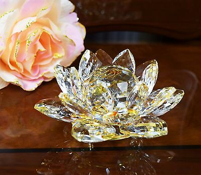 Large Golden Crystal Lotus Flower Ornament With Gift Box Wedding Birthday Gift