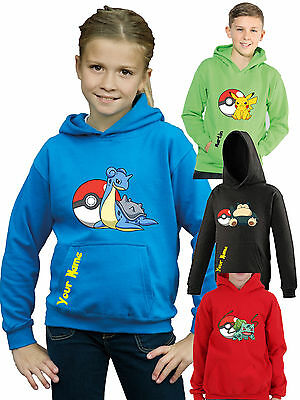 Childrens pokemon card, character hooded top, kids personalised hoodie