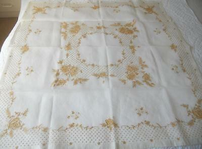 Vintage Madeira Hand Embroidered Golden Yellow Roses White Organdy Table Cloth