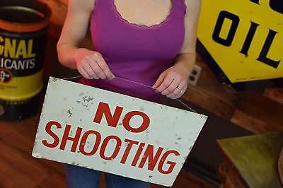 Vintage 1960's era No shooting tin sign Hunting Farm Game Reserve Park Lodge
