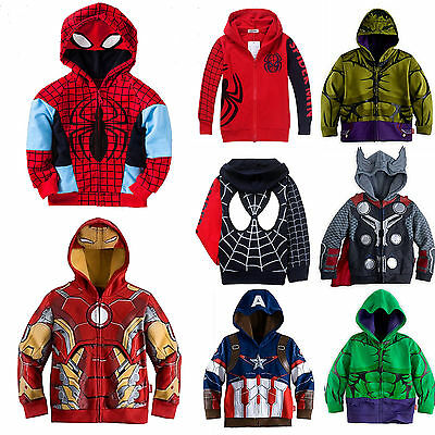 Toddler Superhero Coat Jacket Top Hooded Coat Kids Tracksuit Hoodies Sweatshirt