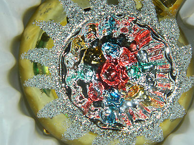 6 Starburst Indent Hand Painted Mercury Glass ? Christmas Balls Ornaments Steel