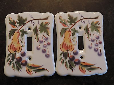 2 VTG PORCELAIN WALL SWITCH PLATEs LIGHT SWITCH COVER CARDINAL CHINA FRUIT GLOSS