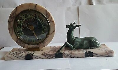 French Art Deco  Marble Clock with Marti Clock Movement - VGC