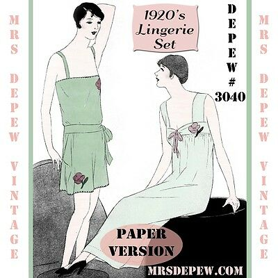 Vintage Sewing Pattern Booklet 1920's Teddy & Nightgown Camiknickers Depew #3040