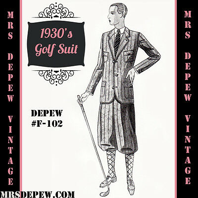Vintage Sewing Pattern 1930's Golf Suit Coat and Trousers Any Size Depew #F102