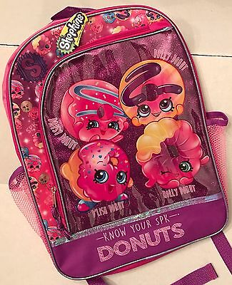 """Shopkins Girl's 16"""" Large Canvas Pink School Backpack Book Bag 