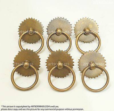"1.69"" Lot of 6 Vintage Ring Saw Round Solid Brass Cabinet Drawer Handle Pulls"