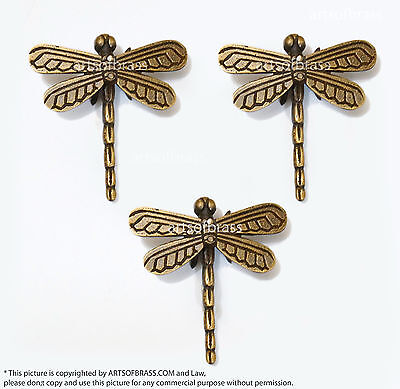 "2.95"" 3 pcs Vintage Retro DRAGONFLY Animal Knobs Solid Brass Cabinet Drawer Pull"