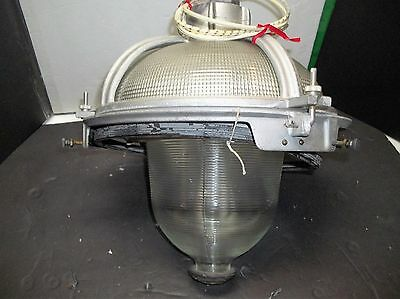 Rare Vintage Industrial Triple Glass Holophane Street Light N.O.S not complete