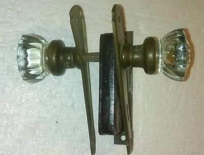 Vintage Glass  Door Knobs With Face Plates And Lock Set
