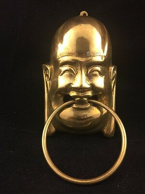 """Vintage Brass Lord Buddha Temple Door Knocker-6.5"""" Inch With Ring In Mouth-Genie"""