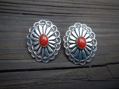 Coral And Hand-Stamped Silver Navajo Concho Earrings – Andrew Cadman