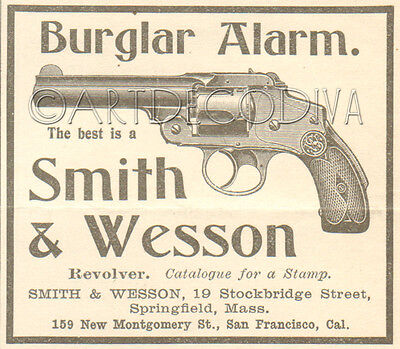 Antique 1900 Smith & Wesson BURGLAR ALARM Revolver Gun Pistol Firearms Art AD