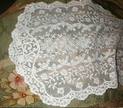 "Antique Edwardian French Lace Runner Embroidered Net w Flowers,Cream 51"" LONG"