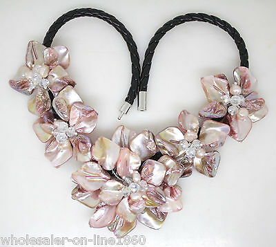 Pink pearl shell mother of crystal pearl flower pendant necklace