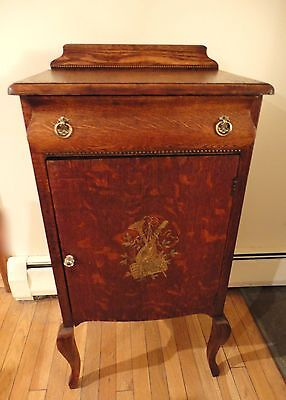 Antique Oak Music Cabinet, Early 1900s