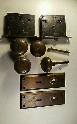 Vintage Metal Door Knob Set with Back Plate and Lock Inset (No Key)