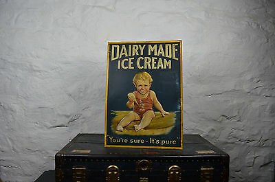 LARGE DAIRY MADE ice cream sign heavy embossed metal early old rare