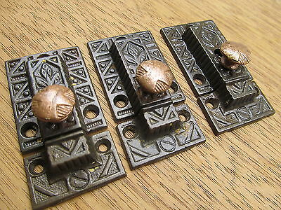 3 Old Eastlake ?? Brass Bronze?? Knobs..ornate Cupboard Latches Latch Nice