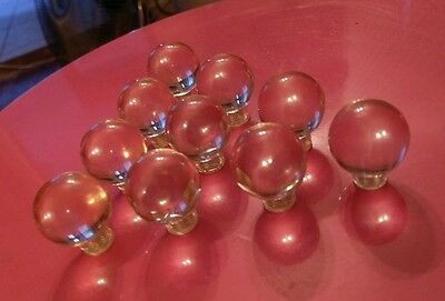 10 Clear Vintage Round Lucite Drawer Pulls