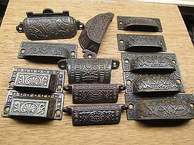 Large Lot Assorted Drawer Pulls Handles Lifts Ornate