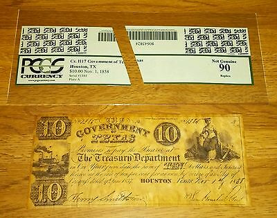 1838 $10 Currency Bill GOVERNMENT OF TEXAS Houston  TX-PCGS 90 Replica-Lot T7
