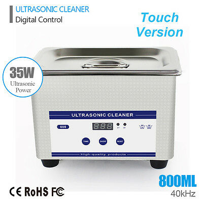 Mini Stainless Steel Industry Ultrasonic Jewelry Glasses Cleaner 800mL w/Timer