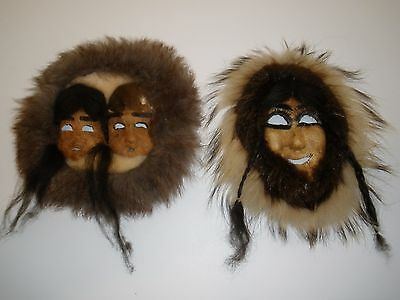 Vintage Eskimo Inuit Skin and Beaver Caribou Fur Masks Faces
