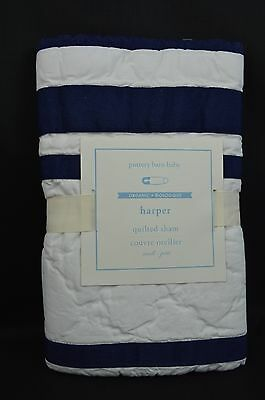 Pottery Barn Baby Nursery Harper Quilted Sham Small Blue 12x16 Crib