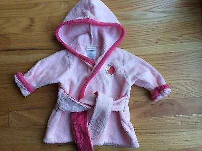 Carters Infant Baby Girl Bathrobe Cover-up Terrycloth Pink Ladybug 0-9 Months