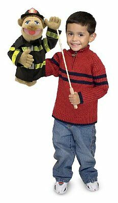 Melissa & Doug Firefighter Puppet With Detachable Wooden Rod for Animated Gestur