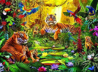 Buffalo Games Signature Series Tiger Family in the Jungle, 1000-Piece Jigsaw Puz