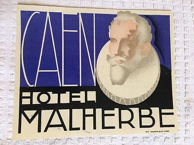 Early 1900s CAEN HOTEL MALHERBE Luggage Label Tag
