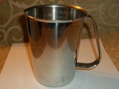 Rare~ Army Vollrath 9516 Measuring Cup Stainless Steel 16 Oz / 1/2 Quart Pitcher
