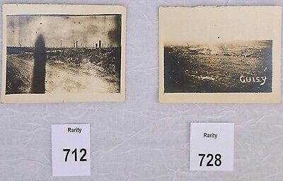 """1918 WWI Soldiers Trucks Cuisy France, Bombed Fields, Two Photographs 3.5 x 2.5"""""""