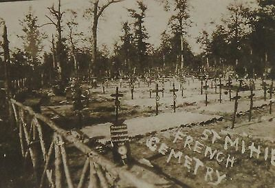 """1918 WWI St Mihiel Cemetary Crosses Graves France Sepia Photograph 3.5 x 2.5"""""""
