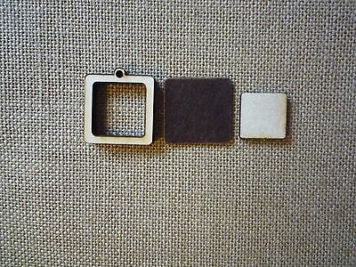 """Mini  Square Wooden Embroidery hoop for Necklaces or pendants - 1"""" size"""