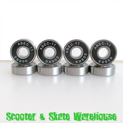 8 x ABEC-11 Chromium Steel Scooter / Skateboard Bearings Black