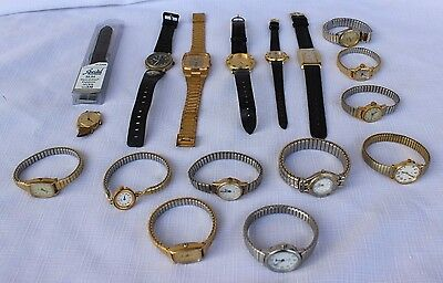 Mixed Lot 16 Men's & Ladies Wristwatches - Mostly Vtg Timex - Various Conditions