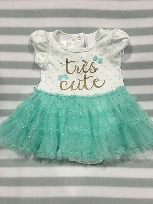 Size 0 Tiny Little Wonders Onesie With Tulle Skirt & Tres Cute Motif Aqua Gold