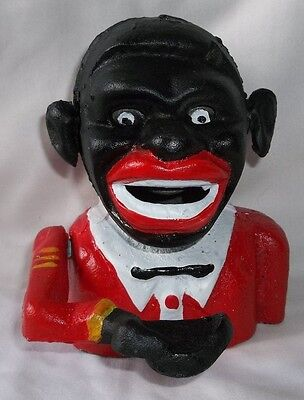 Black Americana Bank Cast Iron Mechanical Coin Bank With Rolling Eyes & Ears