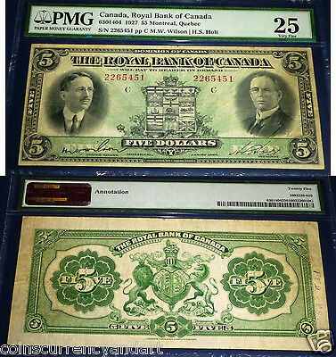 Canada . Royal Bank Of Canada  1927 $5 Pmg 25 Very Fine