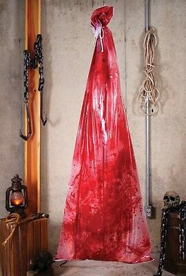 Bloody Body In A Bag Prop Halloween Butcher Shop Nasty Morgue Decoration