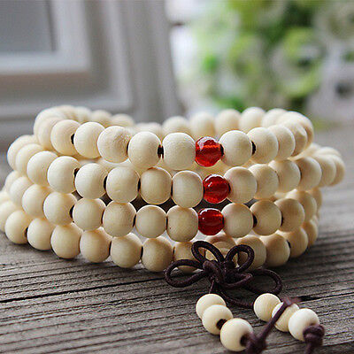 Sandalwood Buddhist Meditation 6mm*108 Prayer Bead Mala Bracelet/Necklace White