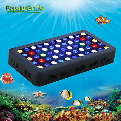 PopularGrow 165W Dimmable LED Aquarium Light Two Channel White/Blue Coral Reef