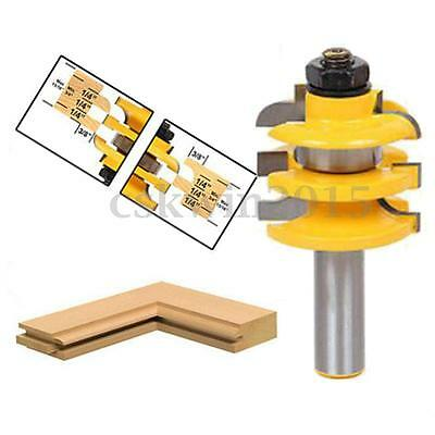 Stacked Rail &Stile Router Bit 1/2'' Shank Bearing Guide Cutter Woodworking Tool