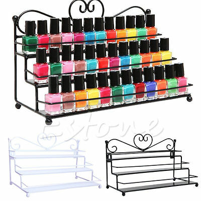 Metal 3 Tier Nail Polish Rack Organizer Display Shelf Mount Stand Storage