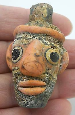 Handmade Old Phoenician Head Art Face Glass Bead Pendant NY26