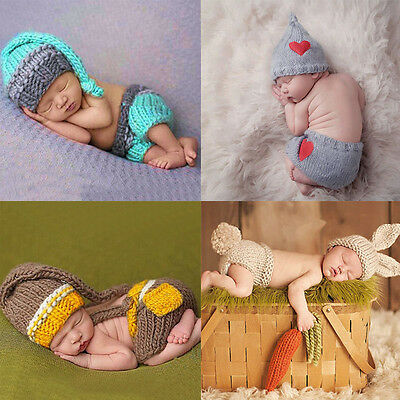 Newborn Baby Girls Boys Cute Crochet Knit Costume Prop Outfits Photo Photography